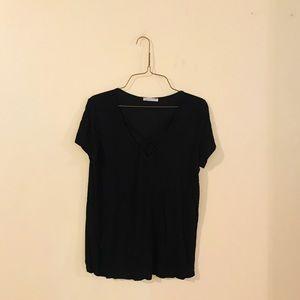 Black Knit Criss Cross Neckline Top